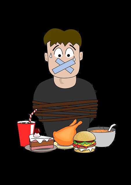 obrázek muže, jak má zalepená ústa, je svázaný a před sebou má jídlo